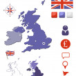 United Kingdom map and icons set — Stock Vector