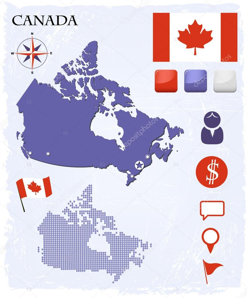 Canada map icons and buttons set — Stock Vector #18756353