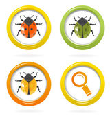 Ladybird glossy icon in colorful bubbles — Stockvektor