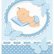 Stock Vector: Sleeping baby boy