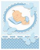 Sleeping baby boy — Stock Vector