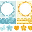 Fabric scrapbook set — Stock Vector