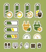 Conjunto de iconos de reciclaje de baterías — Vector de stock