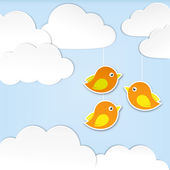 Paper clouds with birds — Stock Vector