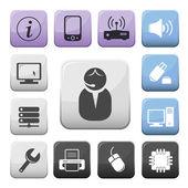 Computer en internet ondersteunen knoppen set — Stockvector