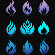 Blue design fire elements on black - Stock Vector