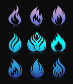 Blue design fire elements on black — Stock Vector