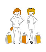 Shopping girls with sale bags — Stock vektor