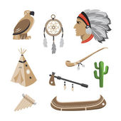 Native american indian icons — Stock Vector