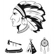 Stock Vector: Indians icons set
