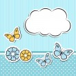 Scrapbook frame with flowers and butterflies — Stock Vector