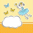 Fairy princess with paper cloud and butterflies — Stock Vector