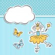 Little princess with paper cloud and butterflies — Stock Vector