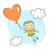 Little girl with heart balloon — Stock Vector