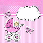 Baby girl arrival announcement — Stock Vector