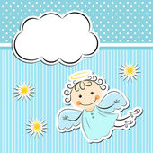 Little angel with stars and cloud — Stock Vector