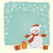 Retro Christmas card with snowman — Stock Vector