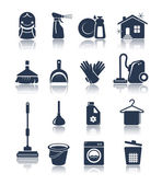 Cleaning blue icons — Stock Vector