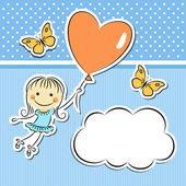 Glad tjej med hjärtat ballong — Stockvektor