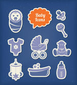 Baby icons paper cut style — Stock Vector