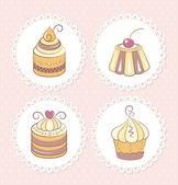 Zestaw słodkie babeczki — Wektor stockowy