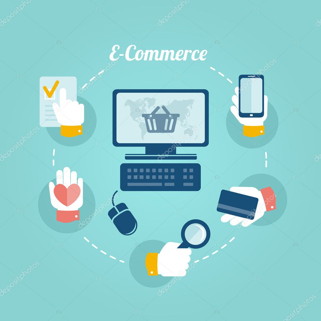 Flat design concept of online shop and e commerce stock vector teneresa - Internet shop design ...