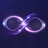 Neon light infinity symbol — Stock Vector