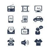 Advertisement icons set — Stock Vector