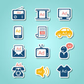 Advertisement paper cut icons — Stock Vector