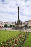 典型的なチェコの町の広場 — ストック写真