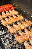 Prawns on the grill — Stock Photo
