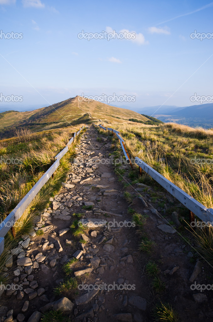 Stony road in Bieszczady mountains — Stock Photo #14609907