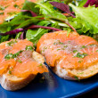 Sandwich with gravlax salmon — Stock Photo