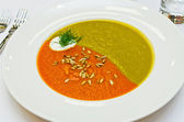 Creamy two colored soup — Stock fotografie