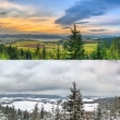 Panoramic landscapes - 2 seasons — Stock Photo