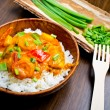 Curry with prawns, vegetables and chives - Foto Stock