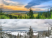 Panoramic landscapes - 2 seasons — Foto de Stock