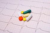 EKG chart with pills — Stock Photo