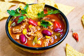 Mexican soup with tacos — Stock Photo
