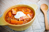Russian soup shchi with bacon and buckwheat — Stock Photo