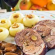 Sliced lamb roast with noodles — Stock Photo
