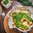 Grilled swordfish fillet with pesto — Stock Photo