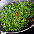 Green vegetables on the pan — Stock Photo