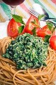Pasta with nettles sauce — Stock Photo