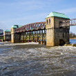 Weir on the Odra river — Stock Photo