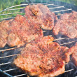 Roasting steaks on bbq - Stok fotoğraf