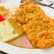 Czech breaded pork chop with dumpling — Stock Photo