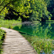Wooden footpath in Plitvice park, Croatia — Stock Photo