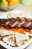 Duck (goose) breast with buckwheat dumplings and carrot — Stock Photo