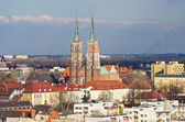 Wroclaws cityscape with churches on Tum Island, Poland — Stock Photo